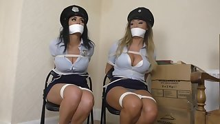 Kinky brunettes with big tits get super horny when they are tied up close-fisted for a while