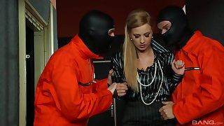 Masked dudes share this blonde hottie in a crazy trio