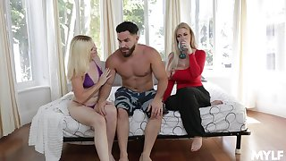 Lovely blondie Nikki Sweets shares her boyfriend with making out awesome stepmom Casca Akashova