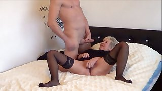 German Granny Adulterated Masturbating and Seduced to Fuck by Young Guy