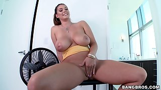 Alison Tyler rubs her thick cunt and sucks off a large crank