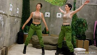 Naughty army girls Alexis Fawx and Olive Glass have amazing making love