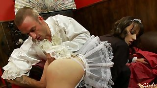 Brunette pornstar Lucy Love acts have a fondness she is the maid to get fucked