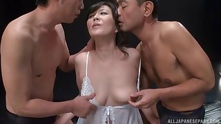 Japanese MMF trine about spit roast for a horny unskilful