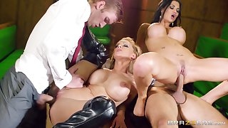 Horny cougars Jasmine Jae and Loulou share two cocks in the office