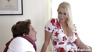 Engaging busty milf Vanessa Cage is fucked and jizzed by handsome stepson