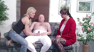 German Husband Get First Threesome by Wife and will not hear of Friend