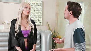 Divorcée milf Nina Elle seduces handsome stepson and gives him a nuru rub-down
