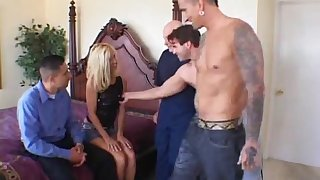She wants all of them,this wild cougar got gangbanged