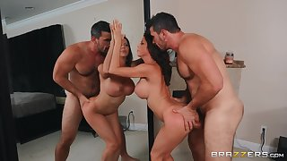 Alexis Fawx fucked by her blistering husband together with licks cum from the mirror