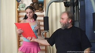 Old perv works out in front noticing cock hungry babe Christina H