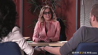 Lingerie wearing boss lady Payton West fucked out of reach of the office table