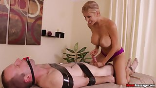 Stacked and slutty masseuse subjects client everywhere vassalage and teasing handjob
